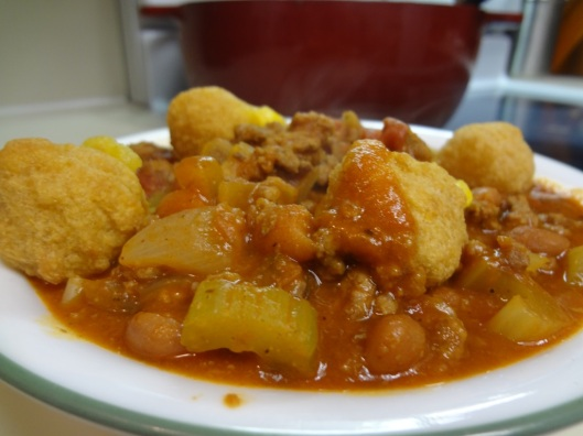 Moms delicious Goulash with Corn Nuggets