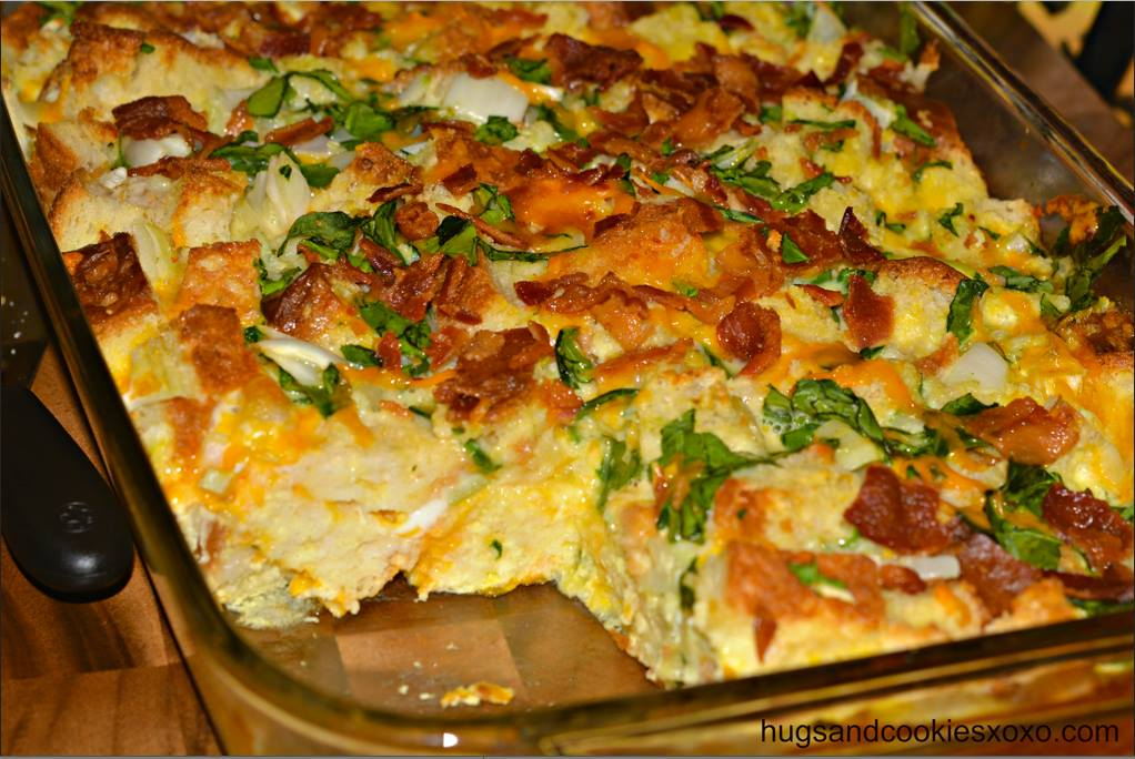 tags bacon breakfast brunch cheese and spinach breakfast casserole egg