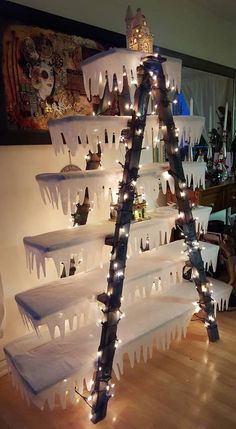 Christmas Ladder Decorating